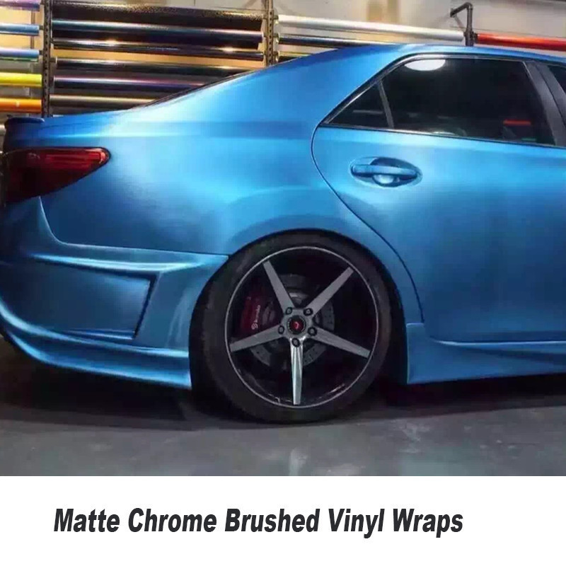 High Quality Matte Chrome Brushed Sky Blue Vinyl Wrap Film Bubble Free For Car Wrapping Size