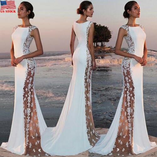 Nouveau mode femmes élégant Noble soirée mariage demoiselle d'honneur longue robe dentelle couture côté-transparent moulante mince robe S-XL