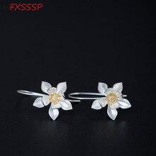 HFXSSSP S925 silver creative design earrings female temperament retro literary lotus earrings ancient folk ear hook jewelry цены онлайн