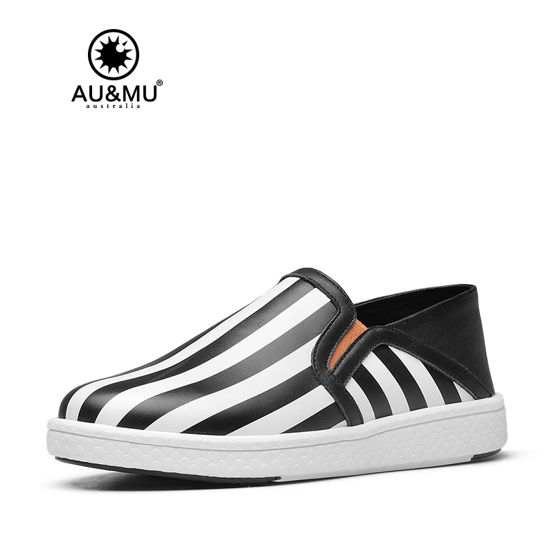 2018 AUMU Australia Zebra Wide Stripe Pattern All-match Loafers Casual Shoes G909 2018 aumu australia rhinestone shiny