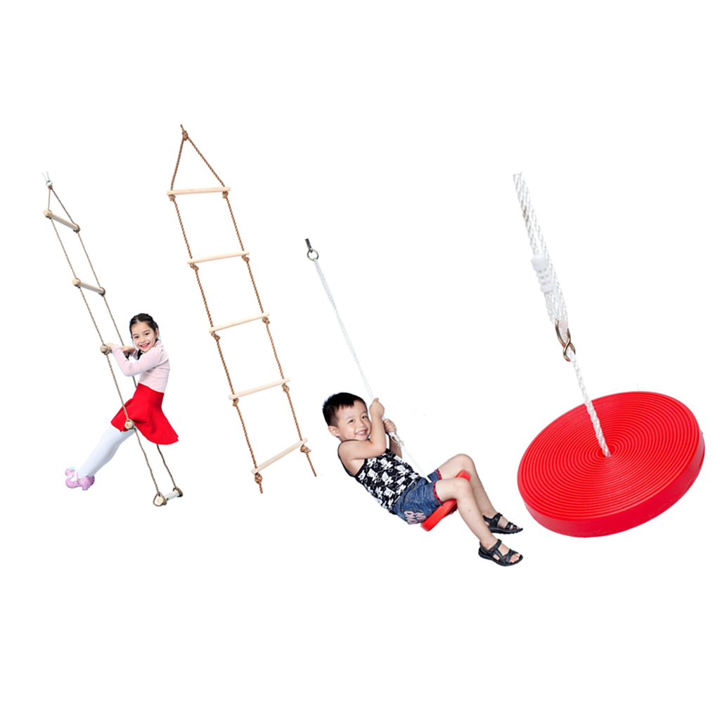 Climbing Ladder & Tree Hanging Disc Rope Swing, Outdoor Toy For Kids Red
