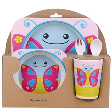 5 Pieces / Set Of Small Butterfly Animal Dish + Bow Fork Cup Baby Tableware Feeding Bamboo Fiber Cute Children Co