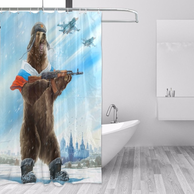 Russia Bear With Gun Shower Curtain Polyester Fabric Waterproof Bath Mildew Resistant Curtains Home Bathroom