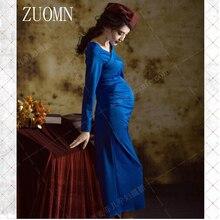 Las mujeres embarazadas largo elegante dress vestidos de fiesta de noche sesión de fotografía de las fotos de la ropa de maternidad embarazo ropa de la raja yl422