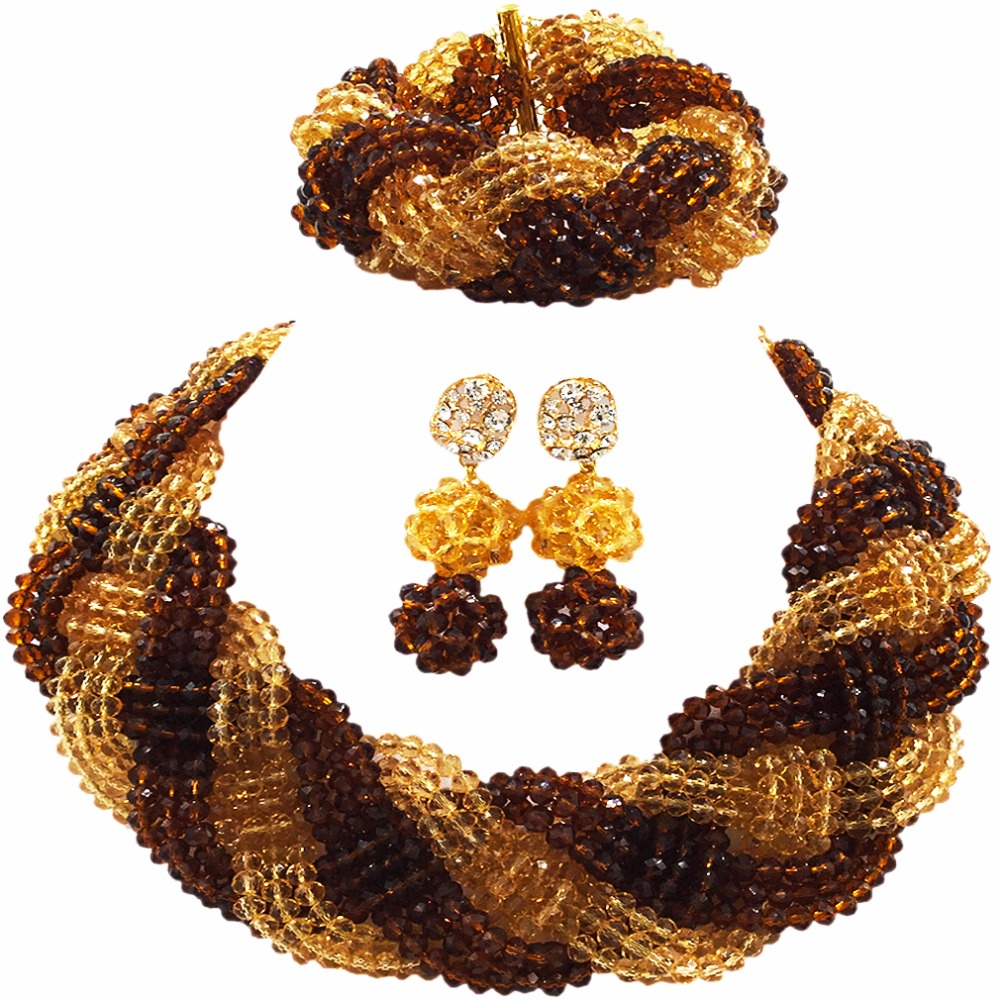 Beautiful Brown Champagne Gold Crystal Beaded Necklaces Costume Nigerian Wedding African Beads Jewelry Set for Women 12BZ06Beautiful Brown Champagne Gold Crystal Beaded Necklaces Costume Nigerian Wedding African Beads Jewelry Set for Women 12BZ06