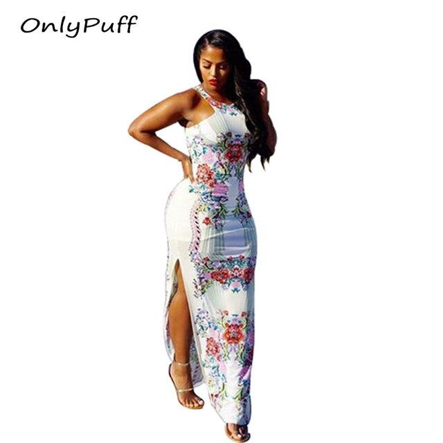 1559bff8ebacac Only Puff Floral print halter chiffon long dress Women 2017 maxi dresses  vestidos Sexy white split beach summer dress