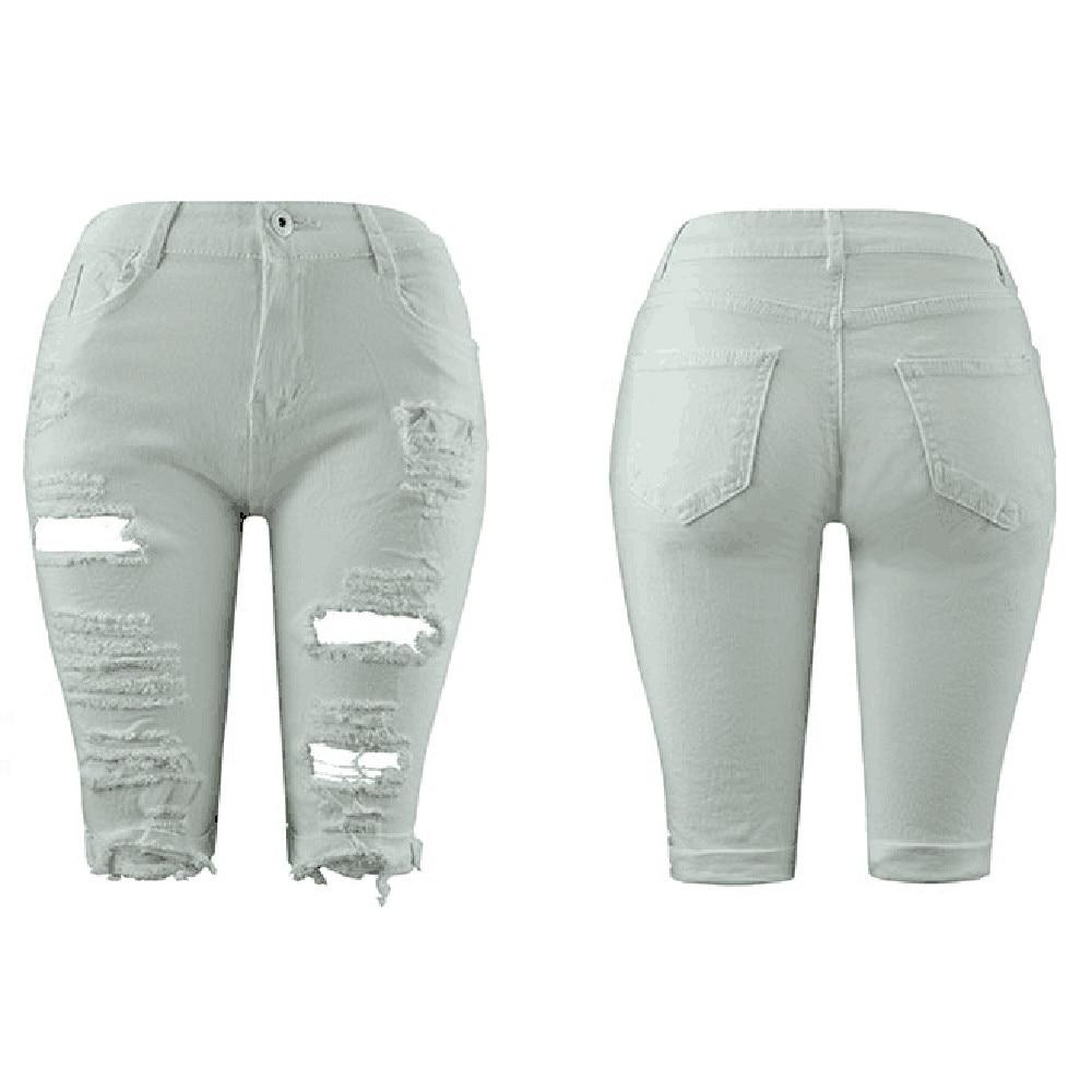Fashion   short   jeans women Elastic Destroyed Hole   Shorts   Denim   Shorts   Ripped Jeans W312