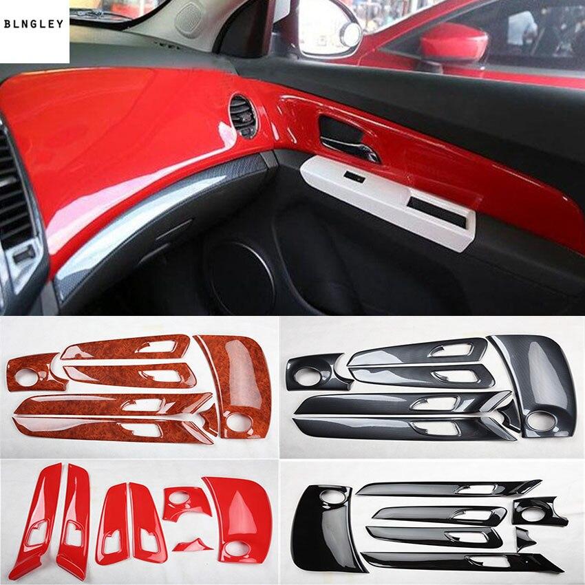 7 pcs/lot ABS grain de fibre de carbone ou grain en bois porte intérieure instrument décoration couverture pour 2009-2013 Chevrolet Chevy Cruze
