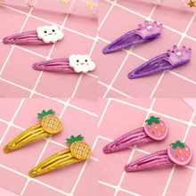 2Pc/Lot cute cartoon hairpin Strawberry Pineapple Fruit cloud geometry hair clips hairgrips girls fashion crown accessories