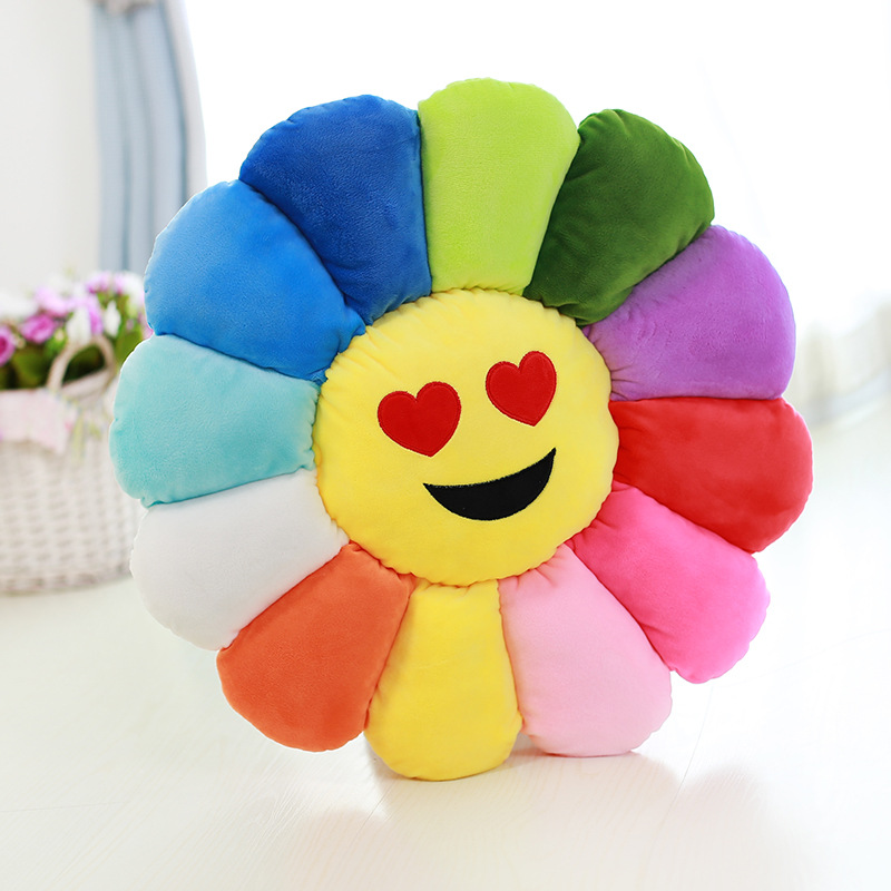 Colorful flowers cushion Sunflower emoji pillow office chair