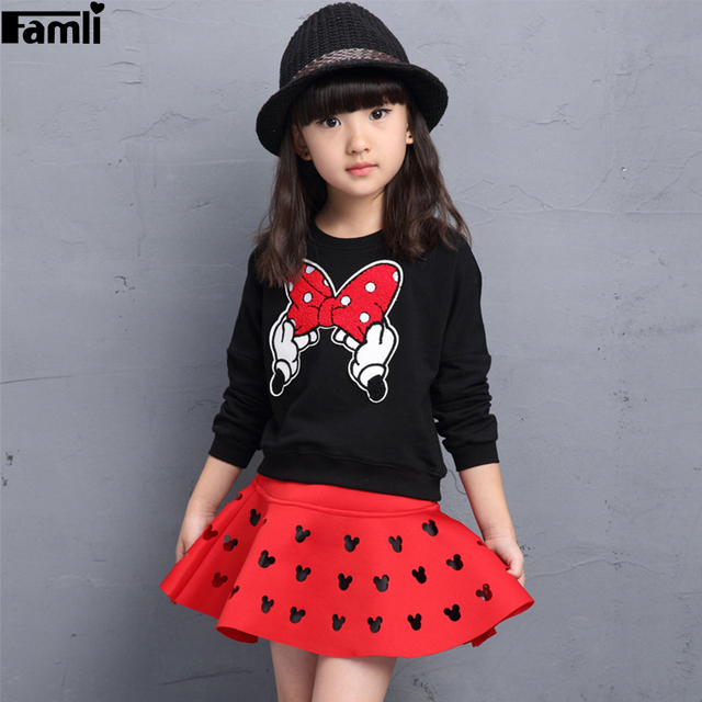 Famli Girls Sweatshirt+skirt 2pcs Outfits 2017 Children Spring Autumn Fashion Character Full Sleeve Princess Skirt Suit Set