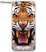 CR Phone Case For Apple iPhone 7P 6s Plus 4 4S 5 5S SE 5C Soft TPU Silicon Transparent Cover noble Black bear Animal tiger Cases