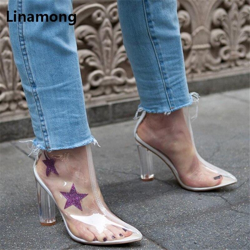 Pvc Automne Mi Motif Talon Haut Étoiles Femme De Transparent Bout Bottes mollet Décoration Printemps Chaussures Femmes Conception Lady Pointu pvqdxd