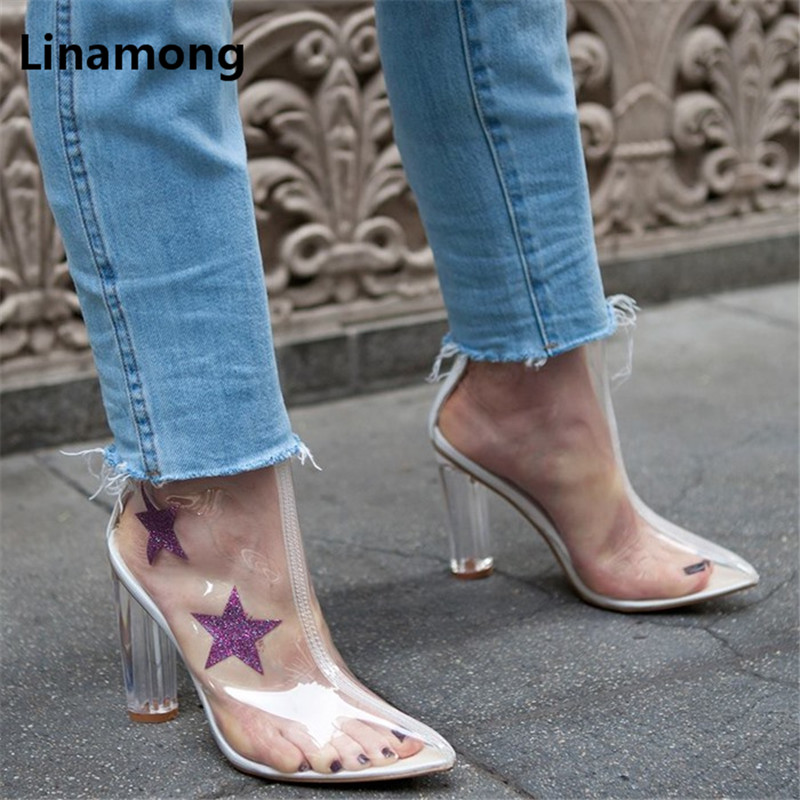 Women PVC Transparent Star Pattern Decoration Mid-Calf Boots Lady Spring Autumn High Heel Design Shoes Female Pointed Toe Boots pvc spring autumn party dress shoes women peep toe transparent heel botas mujer 2017 top selling cut outs lace up mid calf boots