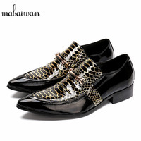 Mabaiwan 2018 New Italy Fashion Men Shoes Party Wedding Handmade Loafers Dress Shoes Men Flats Handsome