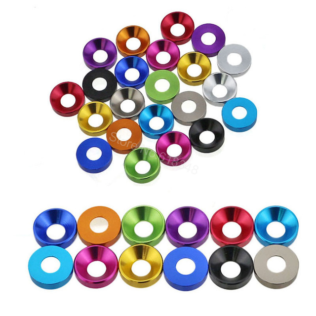 8PCS Aluminum M4 Countersunk Washer Flat Head Screws Bolts For Hobby RC Model Car Parts Replacement Anodized