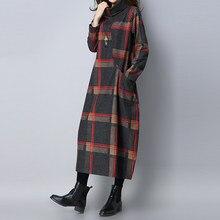 add3ac055c0 Зимнее шерстяное платье для женщин vintge плед Водолазка Длинные платья  халат леди vestidos свободные плюс размеры повседневное .