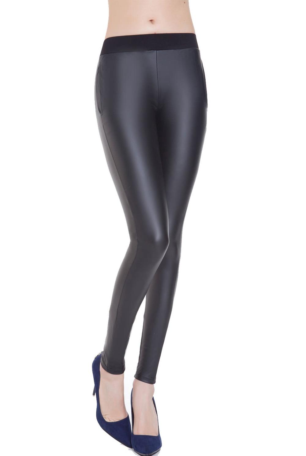 Everbellus Push Up Leather Leggings Fitness Femme Bright Leather Leggins Sexy Women Stretchy Black Casual Medium Waist Pants