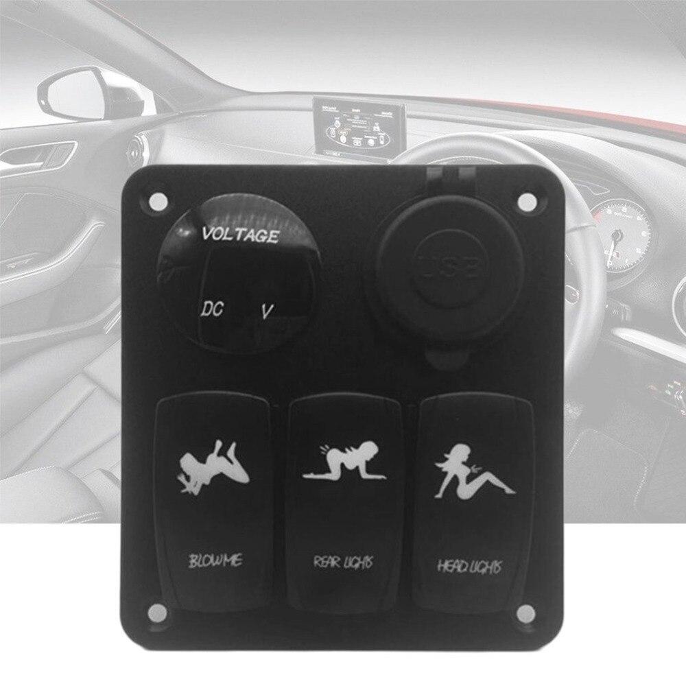 Морской/Лодка Автомобильный комбинированный переключатель панель 3 Gang с прикуривателя и Dual USB слот синий светодио дный свет вкл/выкл кулисн...