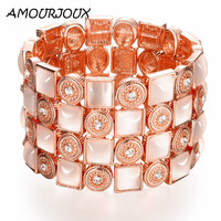 AMOURJOUX Wide Colorful Rose Gold Color Luxury Charm Bracelets Bangles For Women Female Link Bracelet Jewelry