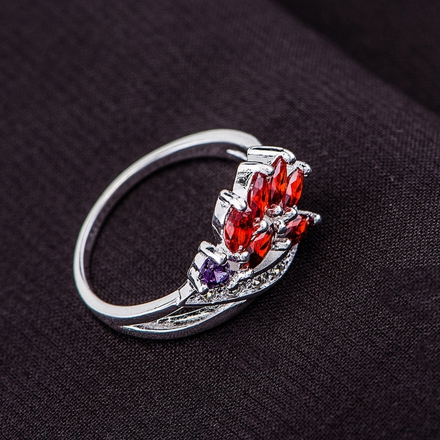 Wholesale silver ring, silver fashion jewelry, red inlaid graceful /chxakzea dzf