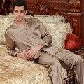 Mens Pijama de Cetim de Seda Conjunto de Pijama Conjunto Primavera Roupa Sleepsuit Pyjamas Loungewear L, XL, 2XL, 3XL Plus Size Cor de Café
