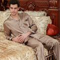Mens Silk Satin Pajamas Set Pajama Pyjamas Set Spring Nightwear Sleepsuit Loungewear L, XL, 2XL, 3XL Plus Size Coffee Color