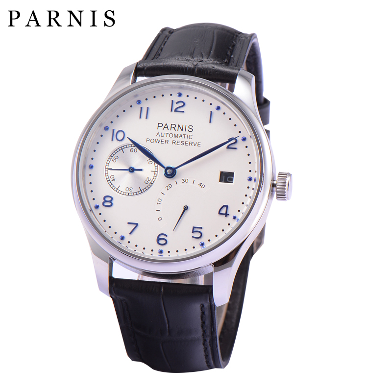 Casual 43mm Parnis Dress Mens Automatic Watches Power Reserve Mechanical Watch Wristwatch Silver PVD Case Seagull Movement Watch  casual 43mm parnis automatic power reserve white dial blue numbers silver watch case business watch men