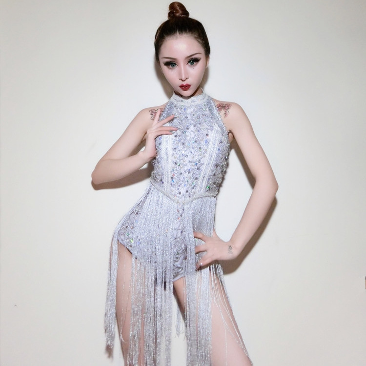 New Sequins Costumes Bar Singers Clubs Sexy DJ Dresses Jazz Stage Silver Tassels Bodysuit Dancers Outfits