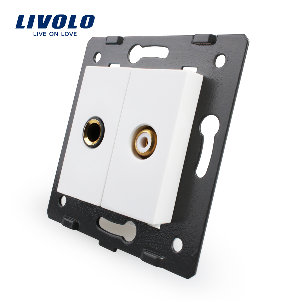 Livolo EU Standard Socket Accessory For DIY Products,The Base of Socket One Microphone and One Video Plug Socket VL-C7-1M1VD-11 livolo eu standard socket accessory decorative frame for socket one pack 5pcs silver white black color