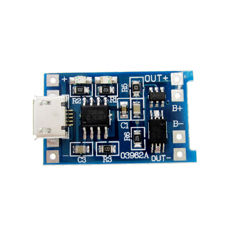 5V Micro USB 1A 18650 Lithium Battery Charging Board With Protection Charger Module 5v 1a 2 1a power bank charger module lithium charging step up boost circuit board 18650 battery shell case diy kit for xiaomi