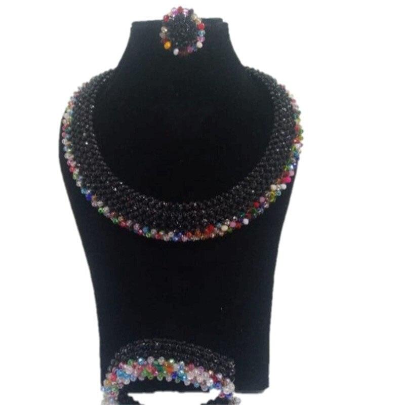 Ensemble de bijoux de mariage Dudo bijoux de mariée noir et Multi couleur collier africain ensemble pour la fête 2019 livraison gratuite ensemble cadeau 3 rangées