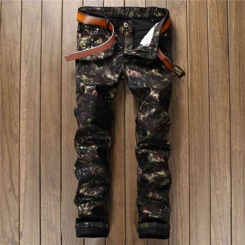 ФОТО #1550 2017 Mens jogger jeans Mens black 3d print jeans Skinny Men's punk jeans Motorcycle pants Biker clothing Denim joggers