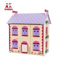 Wooden Doll House Toy Flower Purple Romantic Dollhouse Kids Role Play Game With Four Miniature Furniture Set PHOOHI