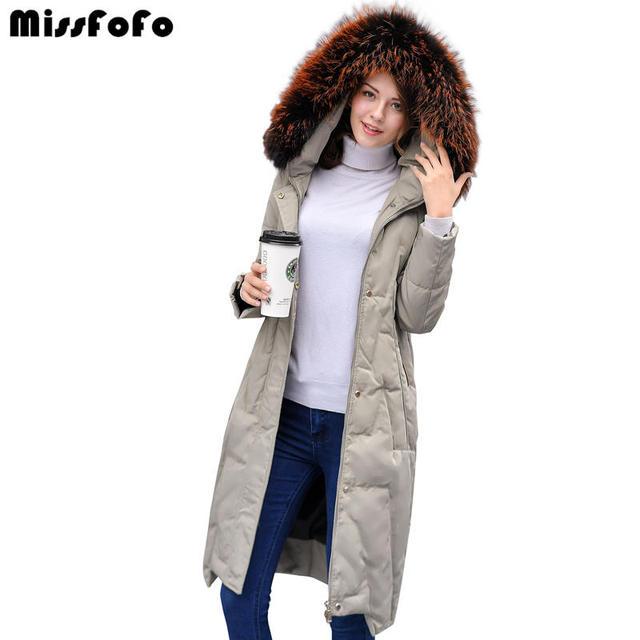 Missfofo Новинка 2017 года Для женщин утка Подпушка куртка большой действительно Мех животных Четыре цвета Высокое качество удобные и теплые Размеры S-XL очень модные