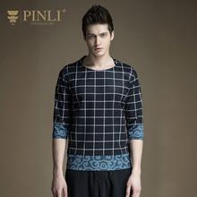 Pinli Sonderangebot Fashion O-ansatz Dreiviertel Drucken Produkt 2017 Neue Sommer männer Bedruckte Ärmeln T-shirt Fünf B171411185