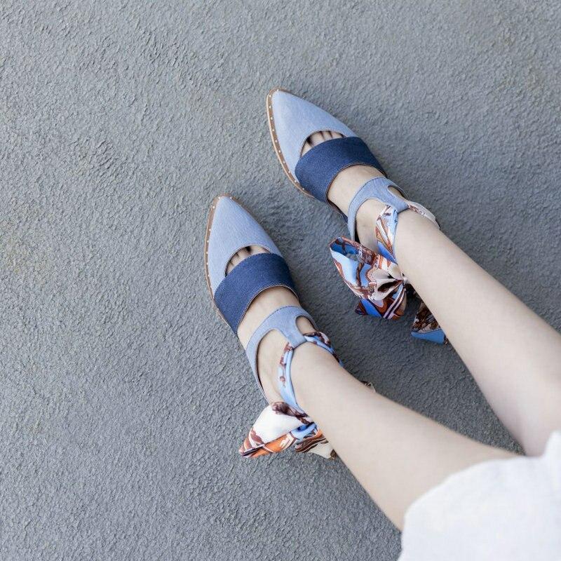 blue Negro Correas Satén Mujer Plano Cruz Azul Zapatos De Correa Remache Tacón Real Dama Beige black Sandalias Baotou Moda Señaló wHCqWO