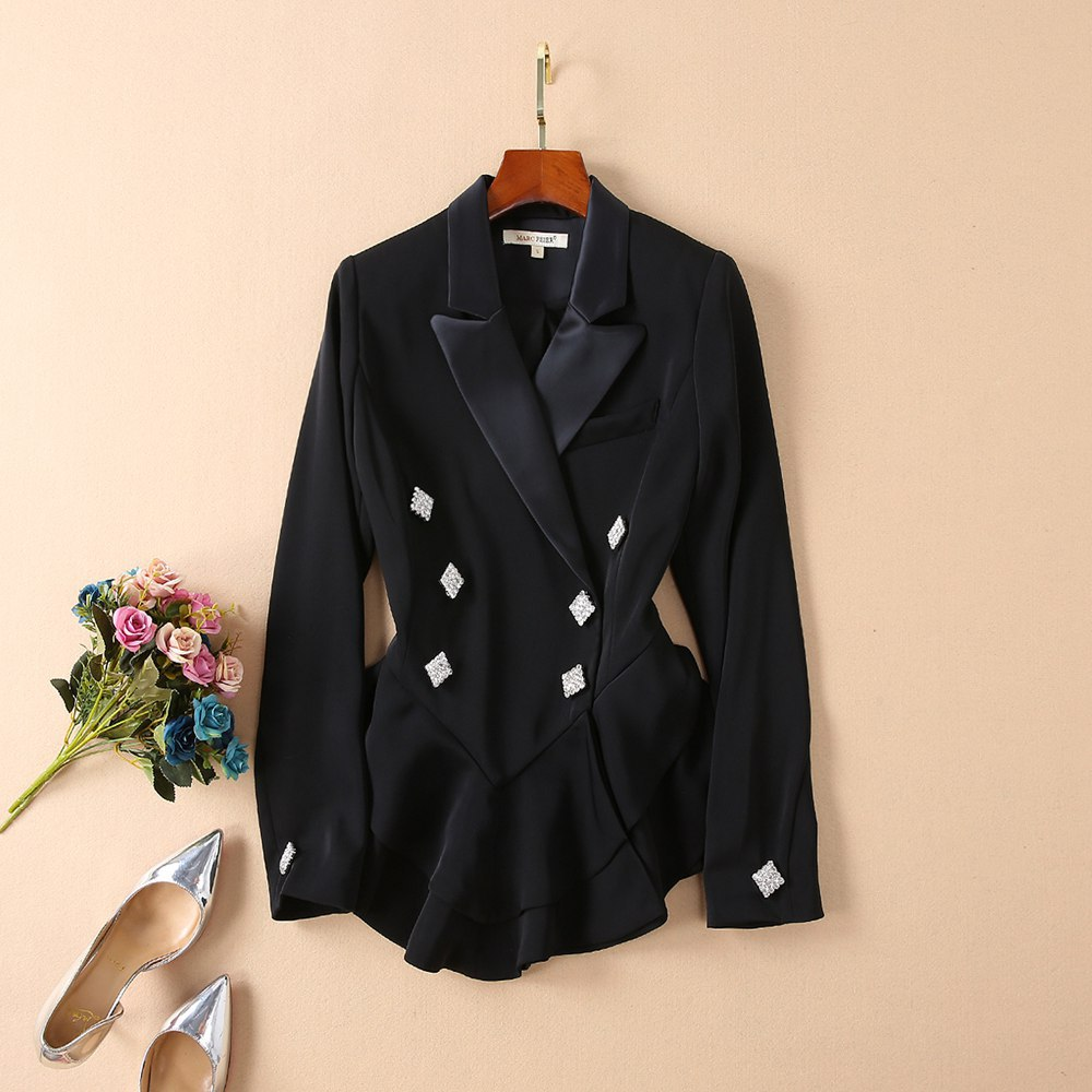 Spring 2019 Exterior Star with Ruffled Black Suit Temperament Suit Button Notched Double Breasted Print Women Jackets and Coats