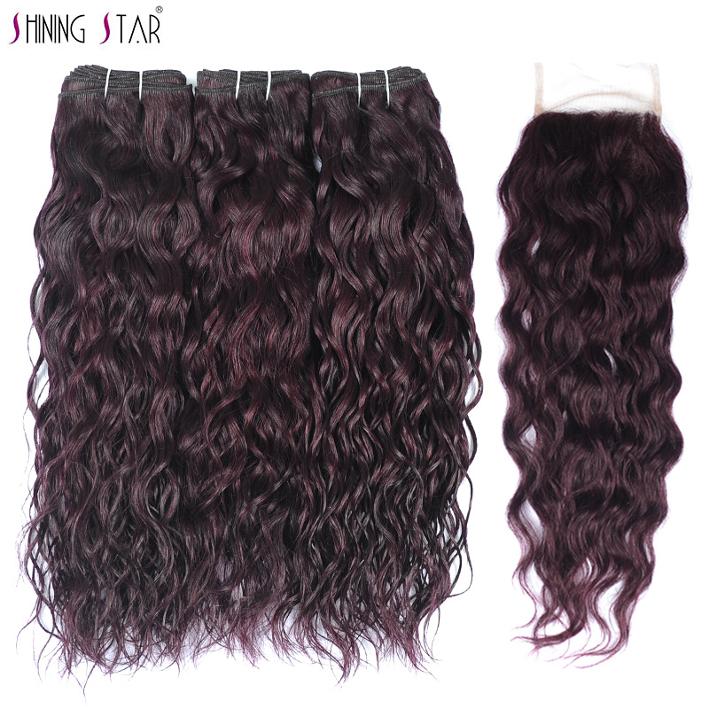 Grape Purple 3 Water Wave Bundles With Closure Peruvian Dark Red 100% Human Hair Weave Extensions Shiningstar Non Remy No Tangle