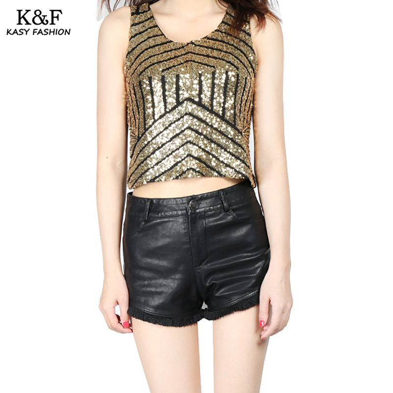 Womens Sexy Sequined Summer Crop Tops 2017 Night Party -3809