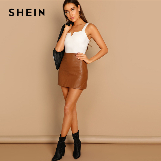 SHEIN Elegant White V-Cut Front Mid Waist Straps Skinny Plain Bodysuit for Casual Women Streetwear 2019 Spring Modern Lady 2