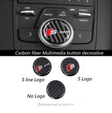 Car-styling New design Carbon fiber Multimedia button decorative 3D sticker For Audi A4 B9 2017 Year emblem interior accessories