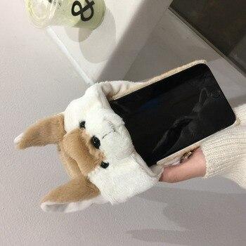 Funda trasera cálida de rayas de cerdito de invierno para iPhone8 7 6s Plus + funda de teléfono de bola peluda con orejas de conejo súper bonito para iPhoneX XR XS MAX