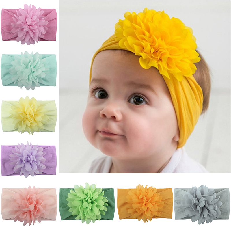 Sale Cute Baby Elastic Hair Band Chiffon Flower Newborn Headband Solid Color Girls Kids Infant Bow Turban Hair Accessories
