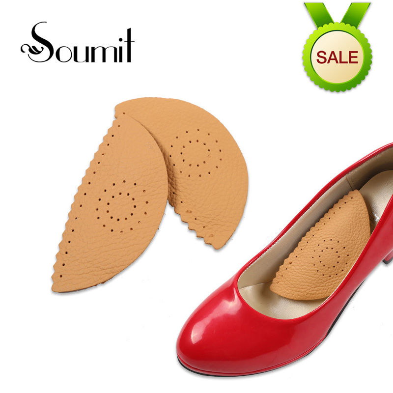 Soumit Breathable Invisible Triangle Leather Massage Orthopedic Insoles for Shoes Pads Arch Support Heel Spur Insoles for Women