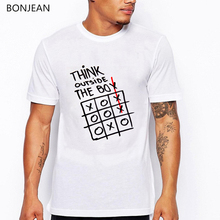 Think outside the box t shirt men summer top male White Creative graphic tee homme funny shirts camisetas hombre