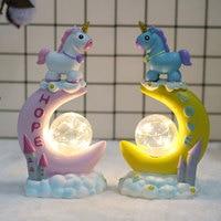 Creative Unicorn Moon Shape Animal LED Night Light Children Eyes Table Lamp Cartoon Lamp Home Birthday Xmas Decor Lighting MYC