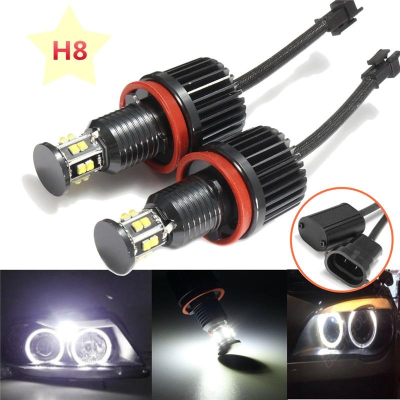 2 x For BMW E82 E90 E92 E60 E61 E63 E89 X6 120W H8 LED Angel Eye Halo Ring Light Bulb Xenon White 6000K Headlight