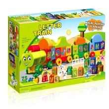 75pcs Letters Train Building Blocks Sets Gify Kids Toys Compatible Duploe City Bricks Toy 188-23