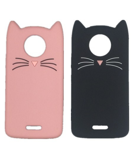 sale retailer dea9f d40f5 US $2.55 20% OFF For Motorola Moto C Plus Soft Silicone Phone Case for  Motorola Moto C 5.0 Inch 3D Cartoon Smile Black Cat Ears Beard Cover-in  Fitted ...